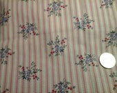 "Stripe and Flower Clusters Dusty Rose Ivory 100% Cotton Fabric Remnant 11"" X 44"""