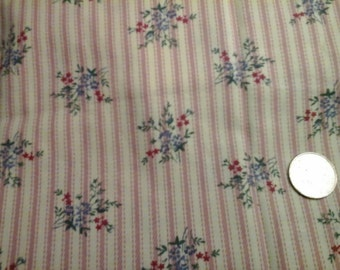 """Stripe and Flower Clusters Dusty Rose Ivory 100% Cotton Fabric Remnant 11"""" X 44"""""""
