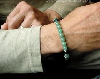 Mens Bracelet, Green Aventurine & Bloodstone, Mens Beaded Bracelet, Green Stone, for Men, Guys, Dad, Him