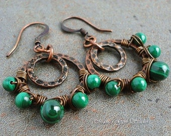 Genuine Green Malachite Gemstone Wire-wrapped Double Hoop Earrings in Antiqued Copper, Handcrafted