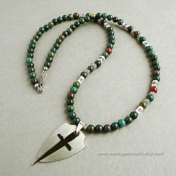 Mens Necklace Bloodstone Sword Cross Shield Stainless Steel   570 x 570 jpeg 66kB