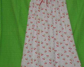 Red Cherries on White Girls Nightie size 8