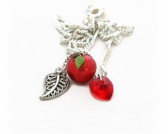 Apple Necklace - Silver Charm Necklace -  Snow White Jewelry - Dainty Necklace - Fruit Jewelry - Mothers Day Gifts for Her - Teacher Gift