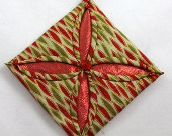 Red  and Green Cathedral Window Quilted Christmas Ornament 135