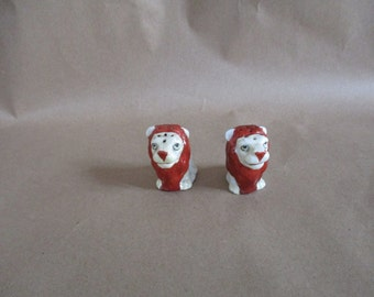 King of the Jungle Salt & Pepper Shakers  Set of Lions Stamped: Japan  Never Used ~ New dead-stock  Tiny Lions