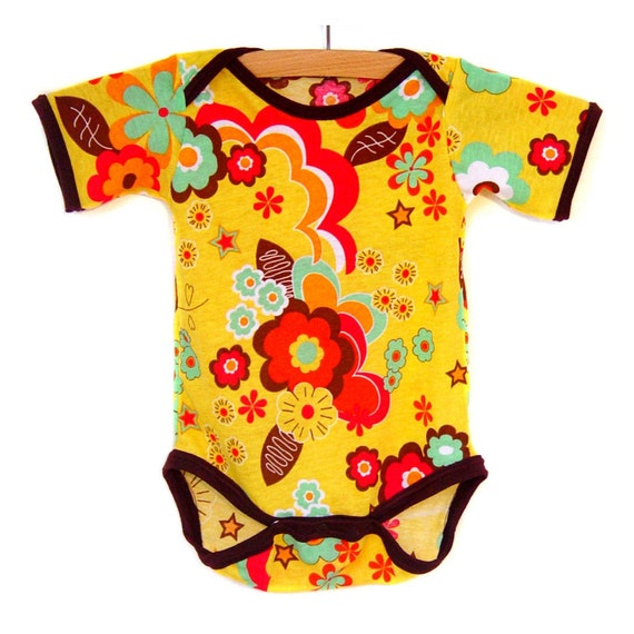 Handmade / Bodysuit / baby clothes - Golden Disco / Brown Trim