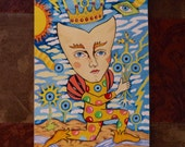 Original Painting Fantasy Surreal Esoteric Jester UFO Unframed 5 x 7