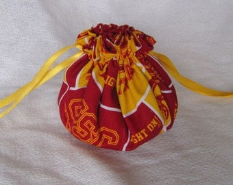 College Team Pouch -Medium Size - Drawstring Pouch - Tote - Jewelry Bag - USC TROJANS