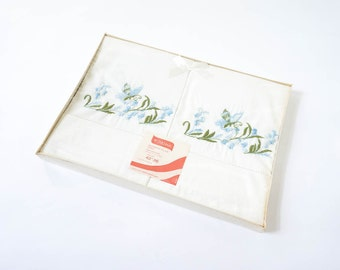Vintage 1960s Pillowcase / 60s Style House Decorative Pillowcase NOS / One Pair, 42x36, Embroidered Butterflies and Flowers