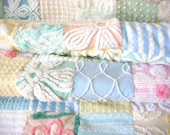 Over The Pastel Rainbow ~ Vintage Cotton Chenille Patchwork Quilt
