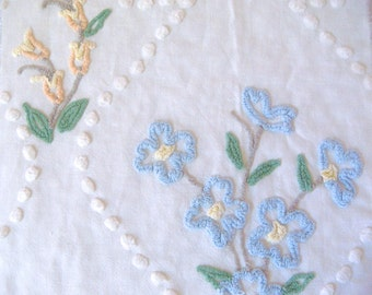 Cabin Crafts Floral  Vintage Cotton Chenille Bedspread Fabric 15 x 22 Inches
