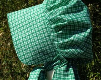 Green Gingham Prairie Bonnet