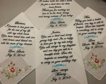 4 Wedding handkerchief - FREE SHIPPING - 3 with a poem of 40-70 words  -  1 under 40 words  - custom machine embroidered handkerchiefs