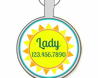 Sunshine Personalized Dog ID Pet Tag Custom Pet Tag You Choose Tag Size & Colors