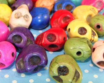 12 Skulls Beads 12mm Assorted Colors Dyed Howlite Magnesite Charms (68311) Loose Bead Jewelry Findings Halloween Jewelry Day of the Dead
