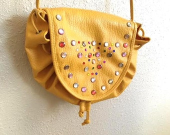 Vintage 80s MARIGOLD YELLOW Multicolored Bejeweled Purse