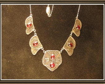 Silver necklace with Garnets in old Russian filigree stile, fine and sterling silver.