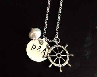 Custom Initial name love Ship Wheel charm necklace with fresh water pearl Necklace Gift