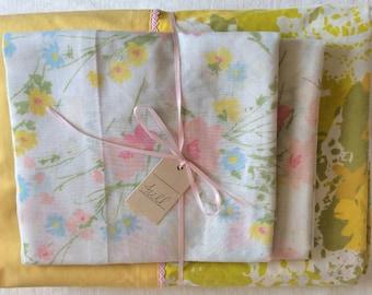 Vintage Remixed Full sheet set in fun flowers / full flat sheet / full fitted sheet / vintage pillowcases
