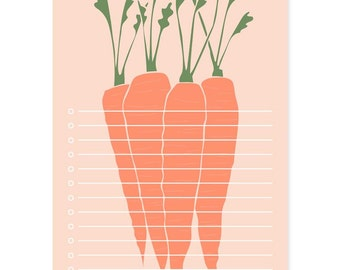 Carrots Market Notepad, Market List Notepad, Easter Pad Gift, Easter Basket, Gifts For Paper lovers, Notetaking, Vegetable Stationery