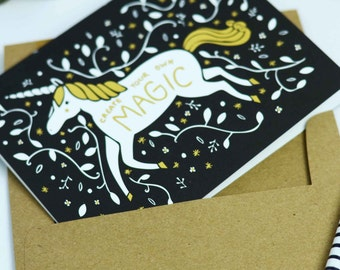 Unicorn Card, Create Your Own Magic Card, Gold Unicorn, Gold Foil, Celebration Card, Birthday Card For Kid, Girl Birthday Card, Mythical