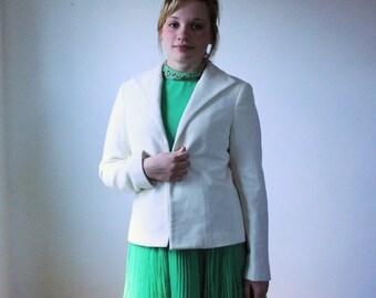 ON SALE 50% OFF White wool jacket / Vtg 1980s soft wool blazer