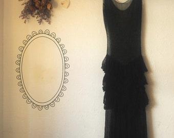 ON SALE 50% OFF Black Mesh 1930's Ruffle Hip Photo Prop Dress - Zombie Gothic - Photography Romantic Torn Boudoir Dress