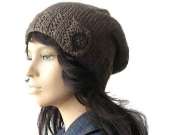 Taupe Hat, Wood Button Tab Beanie, Hand Knit Hat, Knitwear, Taupe Slouchy Hat, Winter Hat, Taupe Slouchy Beanie