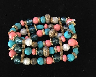 Vintage Chunky 3 Strand Turquoise Coral Glass Bead Stretch Bracelet