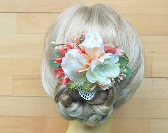 Pastel Peach Ivory Bridal Flower Bib Necklace Sash Comb, Rustic Vintage Weddings Bridal Accessories, Statement Necklace, Hair Flower Comb