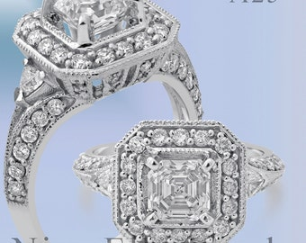 2.70CTW ASSCHER CUT prong set antique style diamond engagement ring