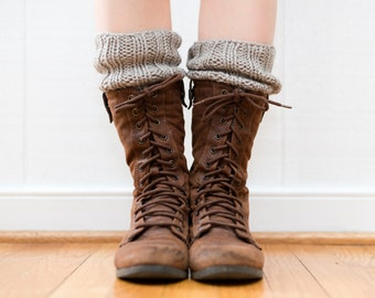 READY TO SHIP - Boot Toppers, Cuffs, Knitted in Oatmeal Gray Wool