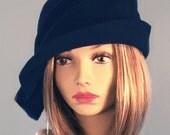 Ava, Velour Felt Cloche with side draped pleats, Navy millinery hat