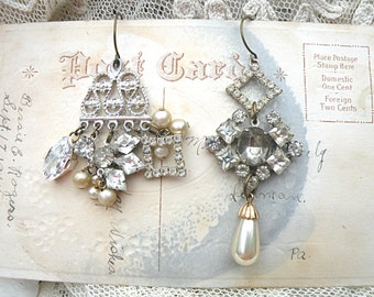 mismatch earrings rhinestone assemblage relove recycle