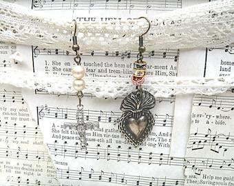 sacred heart earrings mismatch religious assemblage ex voto cross rhinestone catholic