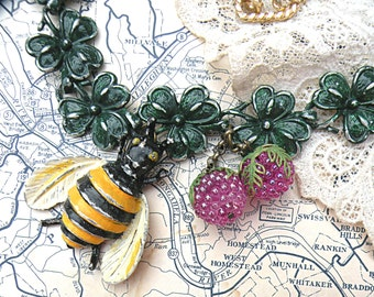 bee clover necklace assemblage green recycle summer