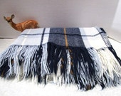 Vintage Plaid Stadium Blanket, Navy / Baby Blue, Faribo, Football Game Picnic College Tailgate Lap Robe Classic Warmth, Car Blanket Acrylic