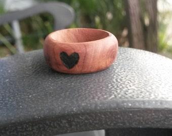 red cedar wooden heart ring