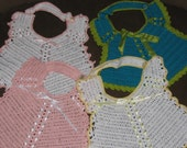 Vintage style handmade crochet lace bibs for baby girl * Christening, baptism, baby shower