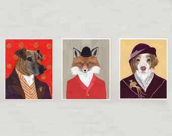 Noble Folk // Set of 3 Animal Giclee Prints -- 8x10 // 16x20 // 22x28 - Unique Gift - Home Decor - Man Cave