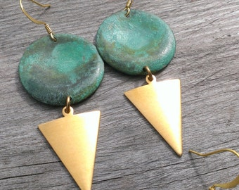 minimalist turquoise and brass earrings