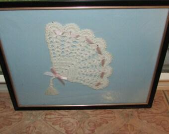 ANTIQUE Crochet or  Tatting Small FAN Framed Wall Art
