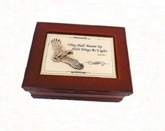 Vintage Wooden Jewelry Box, Religious Box, Wooden Box, Eagle Keepsake Box, Jewelry Storage, Storage Box, Spiritual Decor, Religious Decor