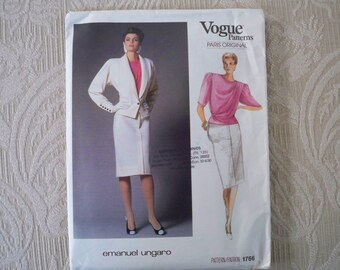 Vintage Sewing Pattern Vogue Pattern # 1766 Misses' Jacket, Skirt & Blouse Size 8