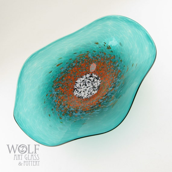 MADE TO ORDER Blown Glass Wall Art Poppy Flower Teal Turquoise with Bright Orange Glass Sculpture