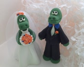 Custom made polymer clay Gator Bride and Groom University of Florida mascot Wedding Cake Topper