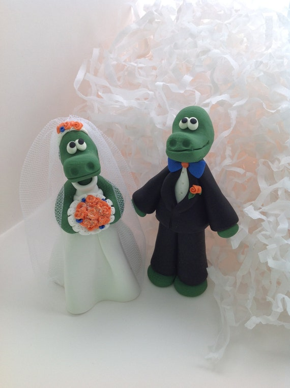 florida state wedding cake toppers custom made polymer clay gator and groom of 14327