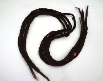 5 long double ended synthetic dreads in darkest auburn. Synthetic dreads, dreadlocks, dreads, synthetic dreadlocks, dreadlock extensions
