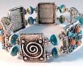 Handcrafted Plus Size Bohemian Goddess Spiral Double Wire Silver Bracelet OOAK