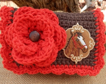Crocheted Purse  ~  Chocolate Brown and Red with Bridled Horse Crocheted Cotton Little Bit Purse